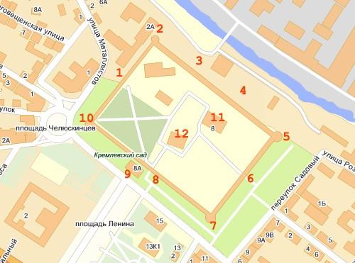 Схема тульского кремля.
