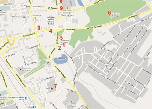 Карта города Лида, Беларусь.