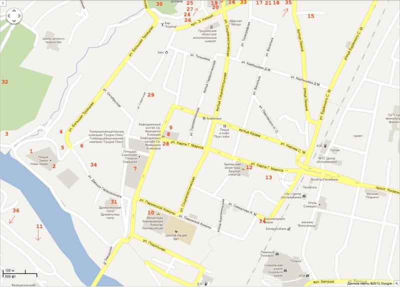 Карта Гродно.