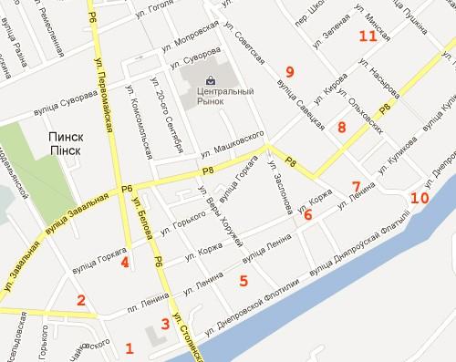 Карта города Пинск, Беларусь.